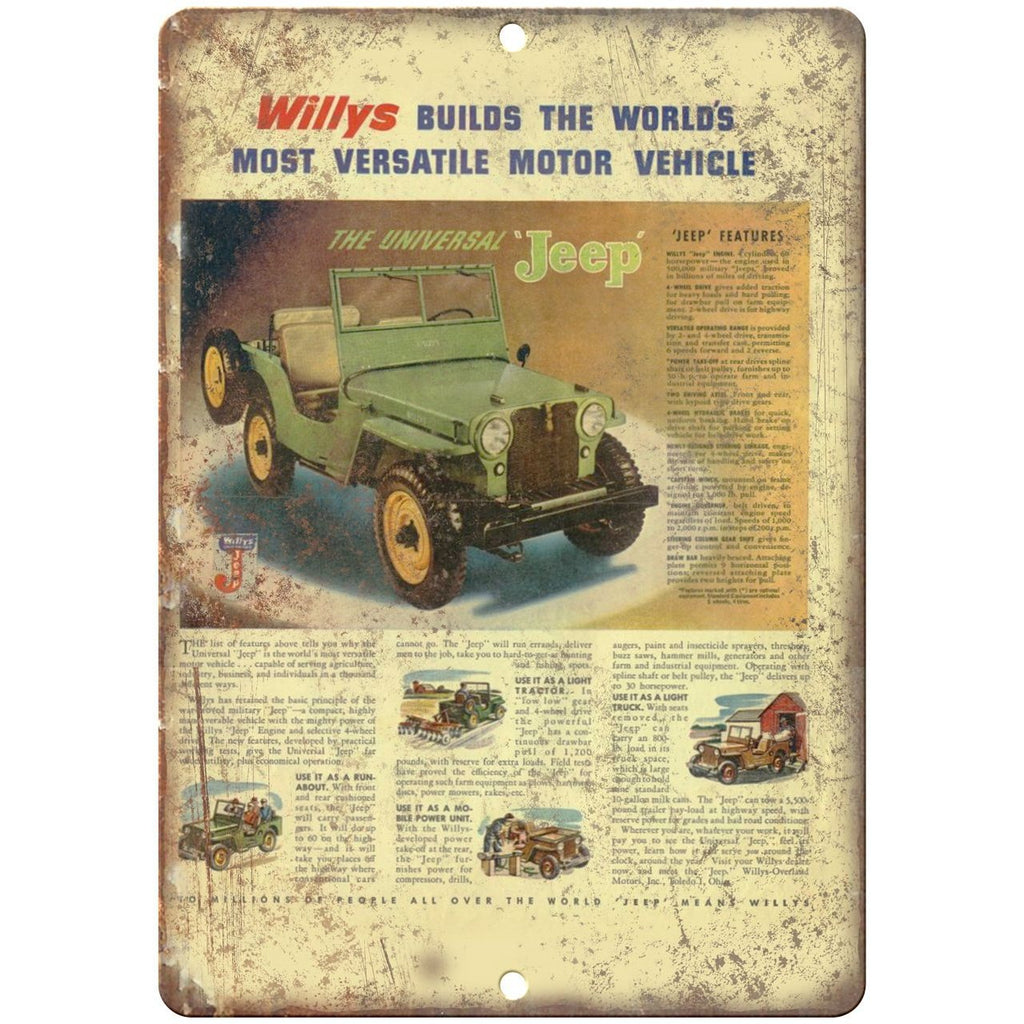 "Jeep Willys Overland 4 x 4 - 10"" x 7"" Reproduction Metal Sign"