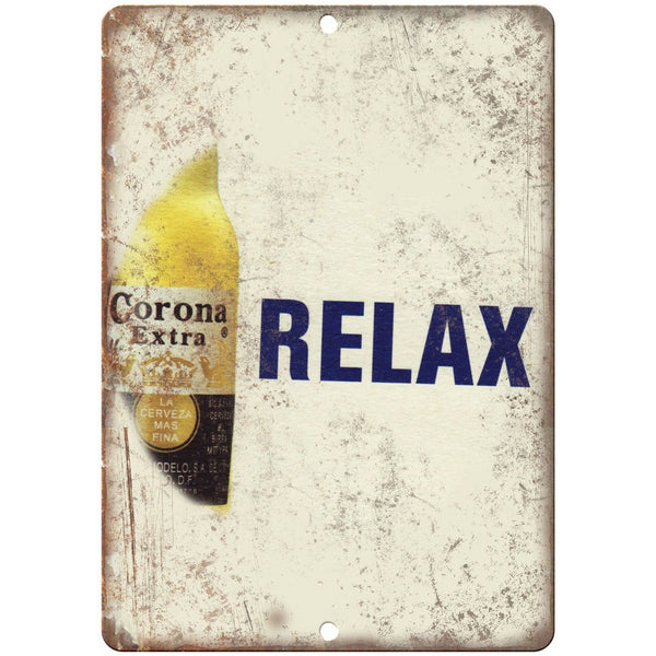 "Corona Extra Relax Beer Vintage Ad 10"" x 7"" Reproduction Metal Sign E269"