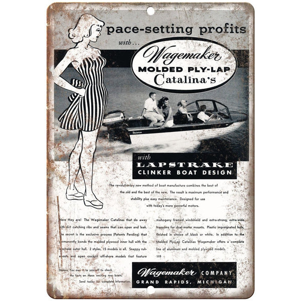 "Wagemakes Molded Ply-Lap Catalina's Boat Ad 10"" x 7"" Reproduction Metal Sign L94"