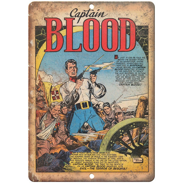 "Captain Blood Vintage Comic Strip Art 10"" X 7"" Reproduction Metal Sign J430"