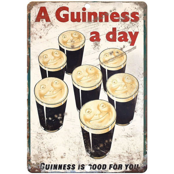 "10"" x 7"" Metal Sign - Guinness Beer Ad - Vintage Look Reproduction"
