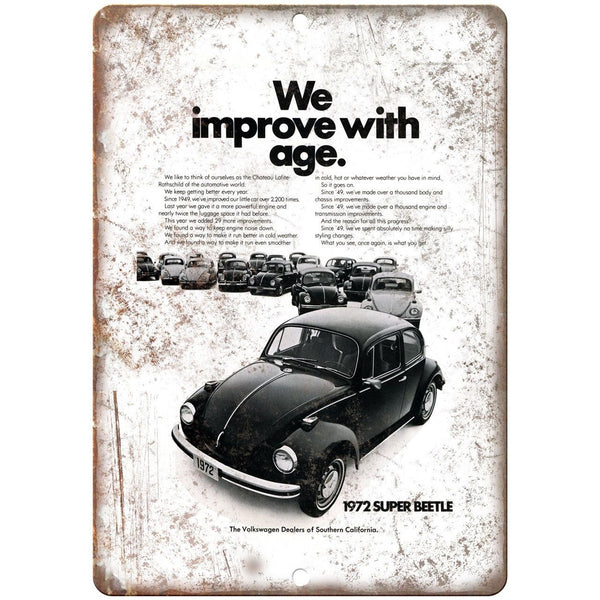 "1972 Volkswagen Super Beetle Ad California 10"" X 7"" Reproduction Metal Sign A61"