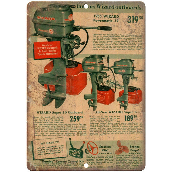 "10"" x 7"" Metal Sign - 1955 Wizard Outboards - Vintage Look Reproduction"