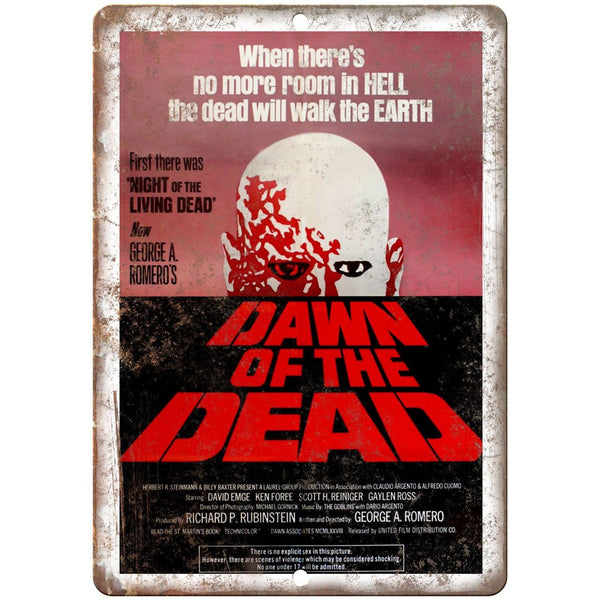 "Dawn of The Dead Movie Poster 10"" x 7"" Retro Look Metal Sign"