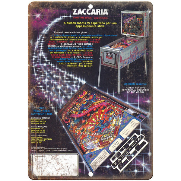 "Zaccaria Vintage Pinball Machine Ad 10"" x 7"" Reproduction Metal Sign G203"
