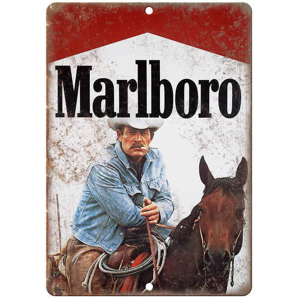 "Vintage Marlboro Man Cigarette Ad Cowboy 10"" X 7"" Reproduction Metal Sign Y10"