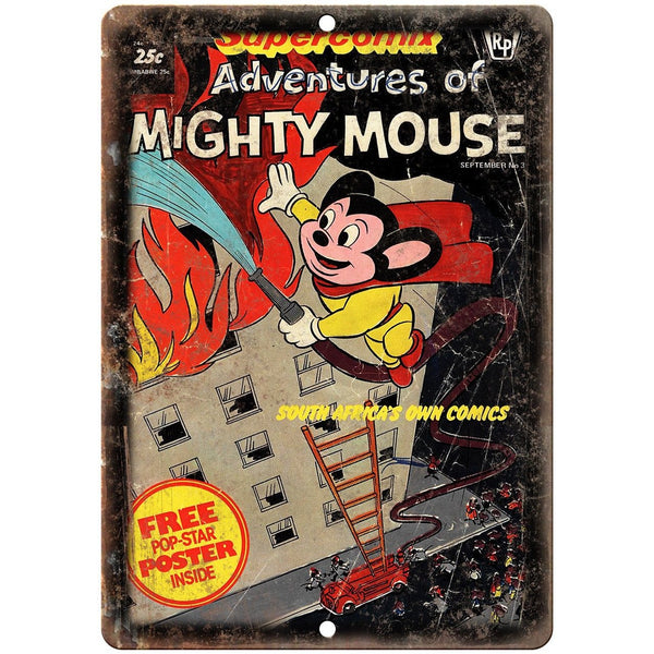 "Adventures of Mighty Mouse Vintae Comic 10"" X 7"" Reproduction Metal Sign J277"