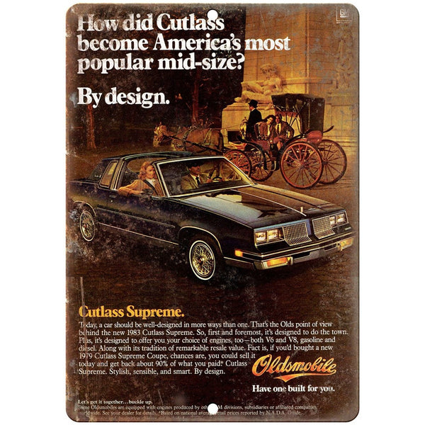 "1983 Oldsmobile Cutlass Supreme Car Ad 10"" x 7"" Reproduction Metal Sign"