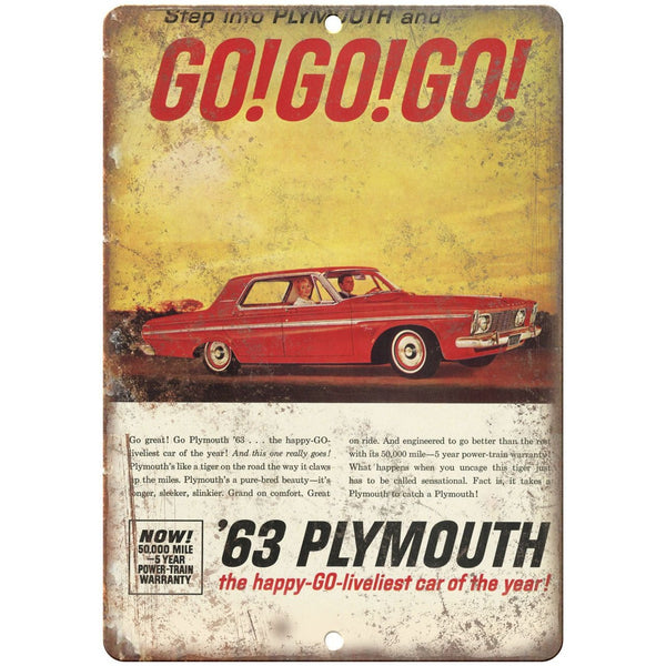 "1963 Plymouth GO! GO! GO! Vintage Ad 10"" x 7"" Reproduction Metal Sign"