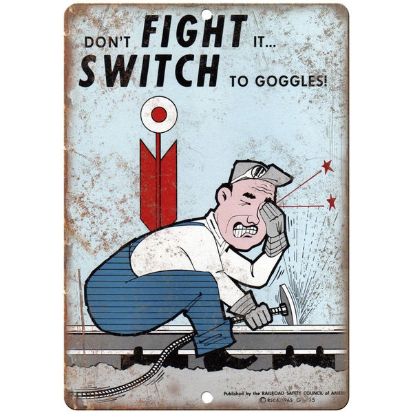"1965 Railroad Safety Council, Railfan, Railroad 10"" x 7"" Reproduction Metal Sign"
