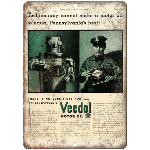 "Veedol Motor Oil Vintage Ad 10"" X 7"" Reproduction Metal Sign A779"