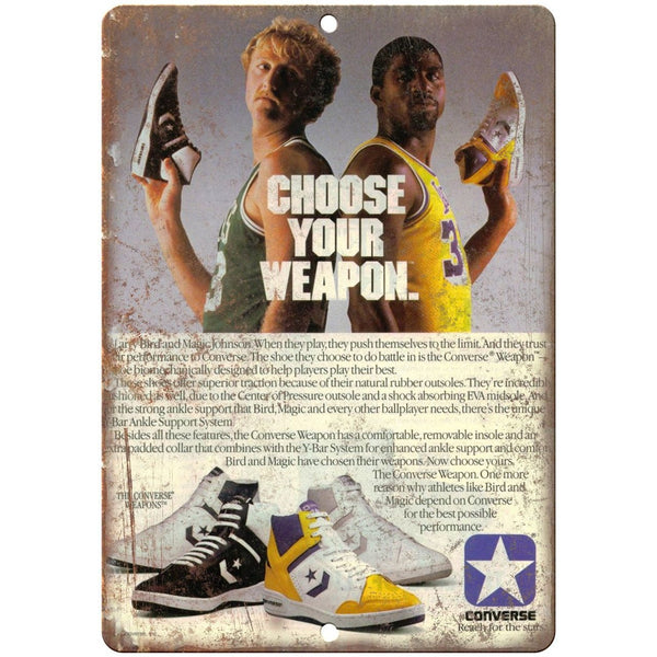"Larry Bird Magic Johnson Converse Weapons 10"" X 7"" Reproduction Metal Sign ZE52"