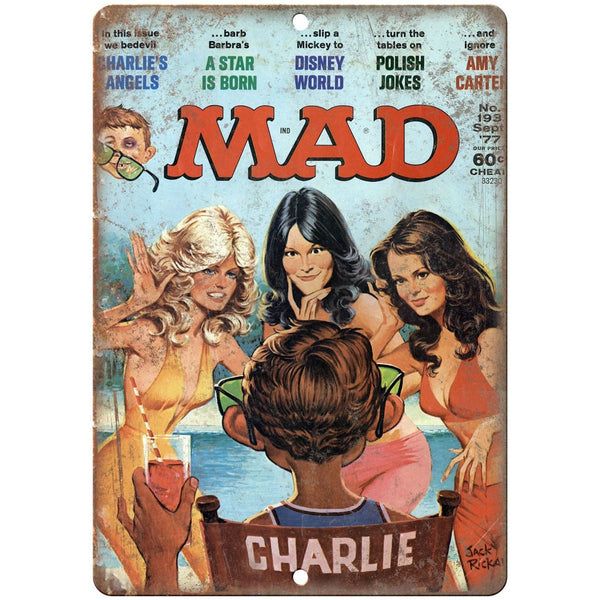"1977 MAD Magazine Charlies Angels Cover 10'"" x 7"" reproduction metal sign"