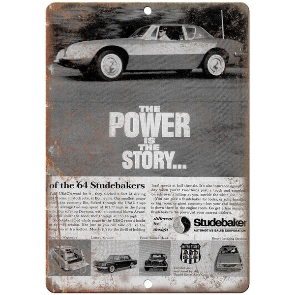 "1964 Studebaker Automobile Sales Corp Ad 10"" x 7"" Reproduction Metal Sign A423"
