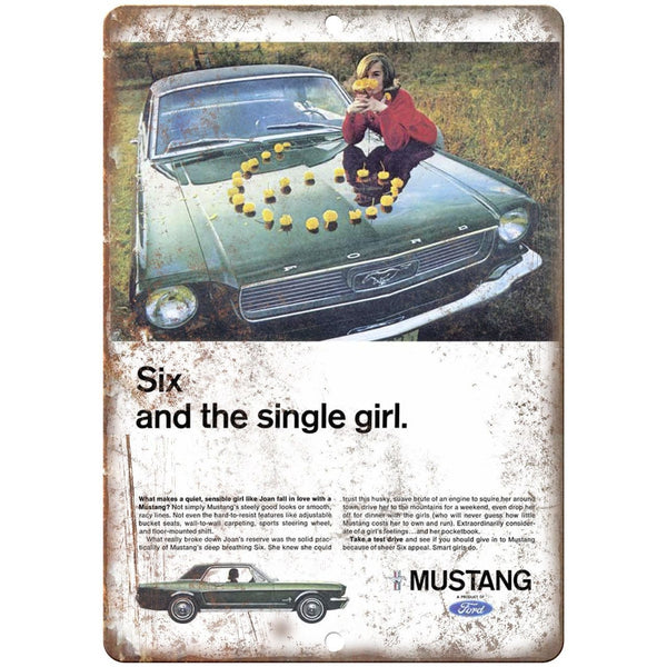 "Ford Mustang Six and the Single Girl Retro Ad 10"" x 7"" Reproduction Metal Sign"