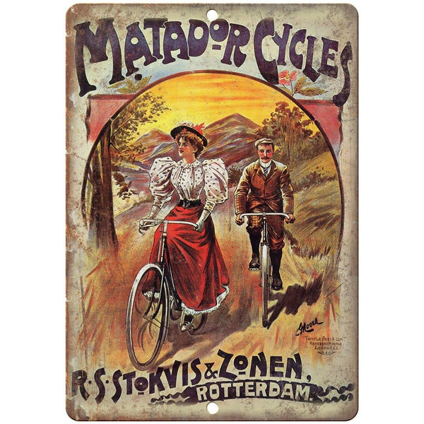 "Matador Cycles Vintage Bicycle Ad 10"" x 7"" Reproduction Metal Sign B349"