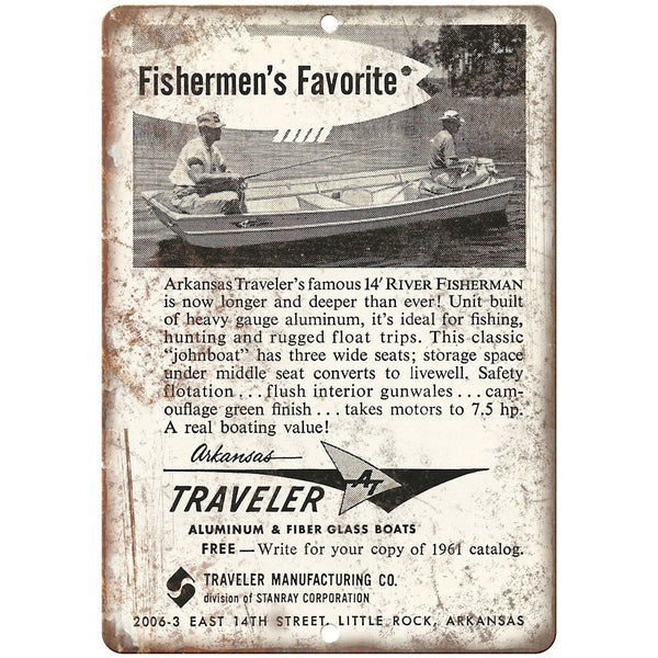 "Traveler Johnboat Vintage Ad 10"" x 7"" Reproduction Metal Sign L79"