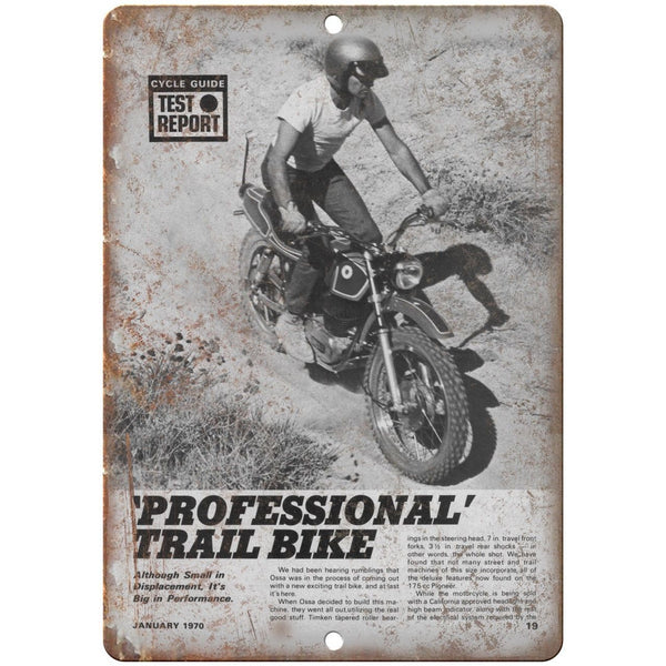 "1970 OSSA Professional Trail Bike Vintage Ad 10""x7"" Reproduction Metal Sign A377"