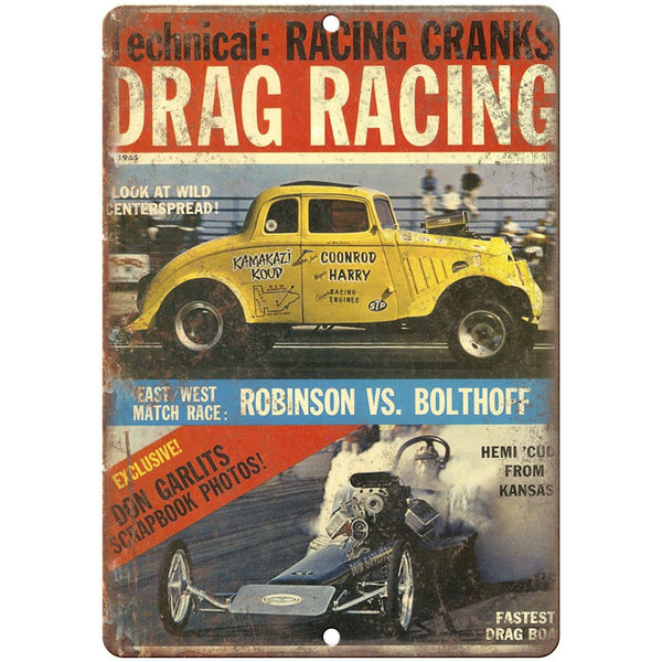 "1965 Drag Racing, Bolthoff, robinson, don carlits 10"" x 7"" Retro Metal Sign"