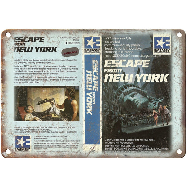 "Escape From New York Embassy Home Video 10"" X 7"" Reproduction Metal Sign V02"