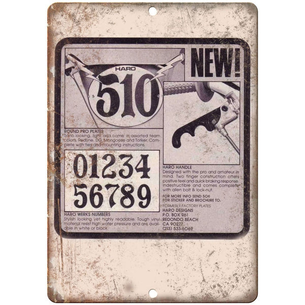 "10"" x 7"" Metal Sign - HARO BMX Number Plate - Vintage Look Reproduction"