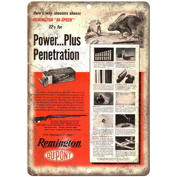 "Remington 22. Caliber Power Plus Vintage Ad 10"" x 7"" Reproduction Metal Sign"