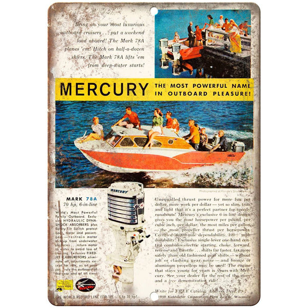 "Mercury Mark 78A Outboard Motor Vintage Ad 10"" x 7"" Reproduction Metal Sign L70"