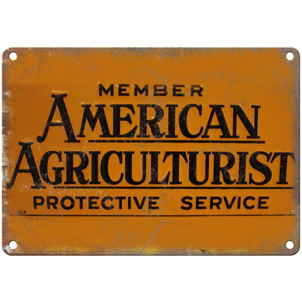 "Porcelain Look American Agriculturist 10"" x 7"" Reproduction Metal Sign"