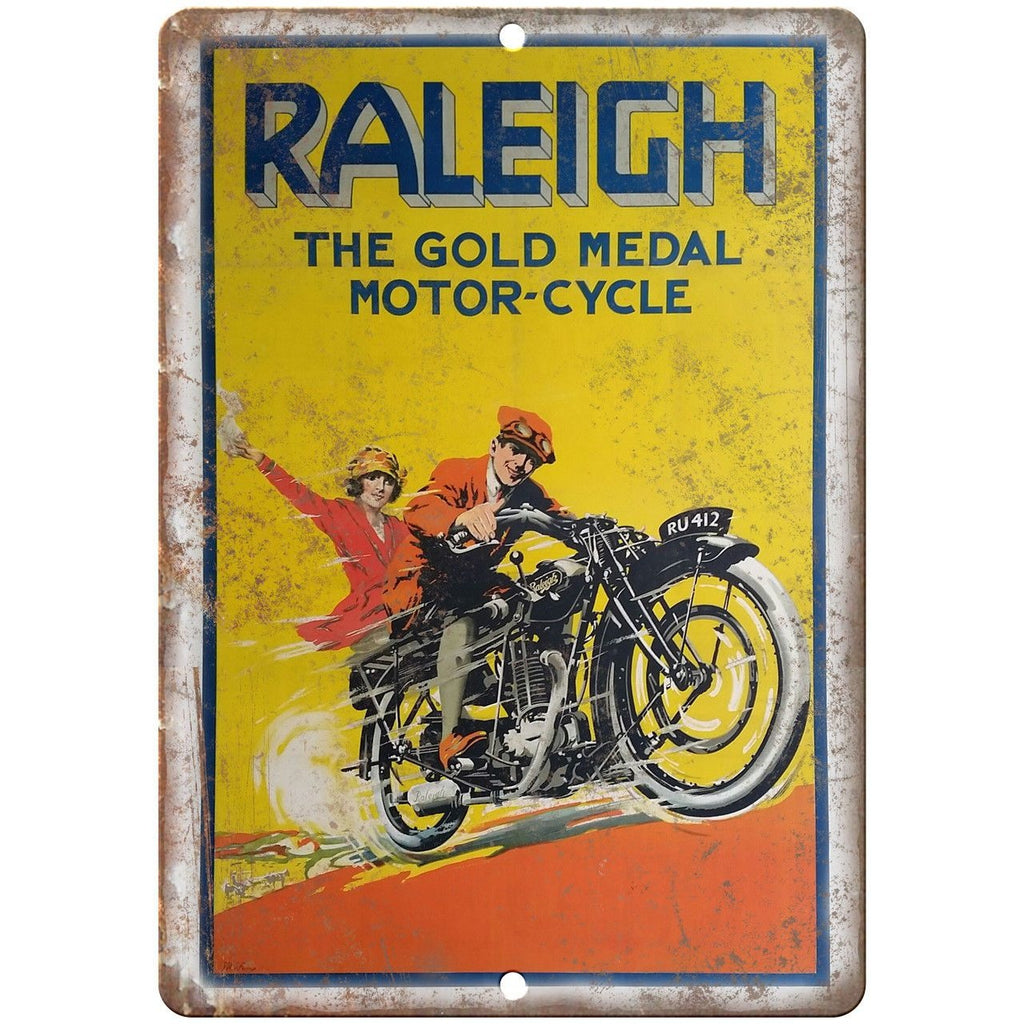 "Raleigh Gold Medal Motor-Cycle Vintage Poster 10""x7"" Reproduction Metal Sign F08"