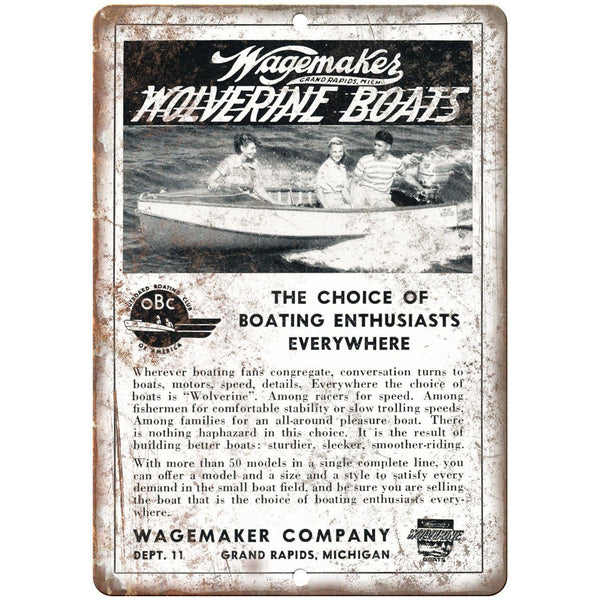 "Wagemakes Wolverine Boat Vintage Ad 10"" x 7"" Reproduction Metal Sign L90"