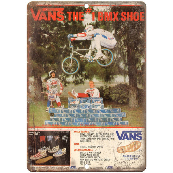 "Vans shoes BMX, BMX Racing RARE ad 10"" x 7"" retro metal sign"