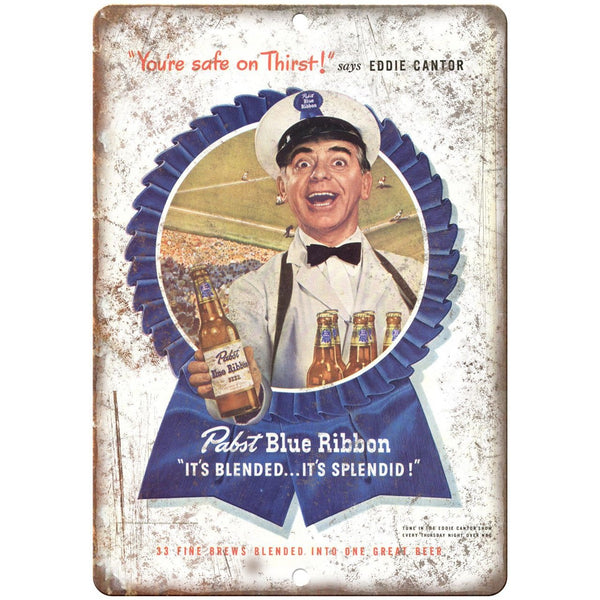"Pabst Blue Ribbon Eddie Cantor Breweriana 10"" x 7"" Reproduction Metal Sign E14"