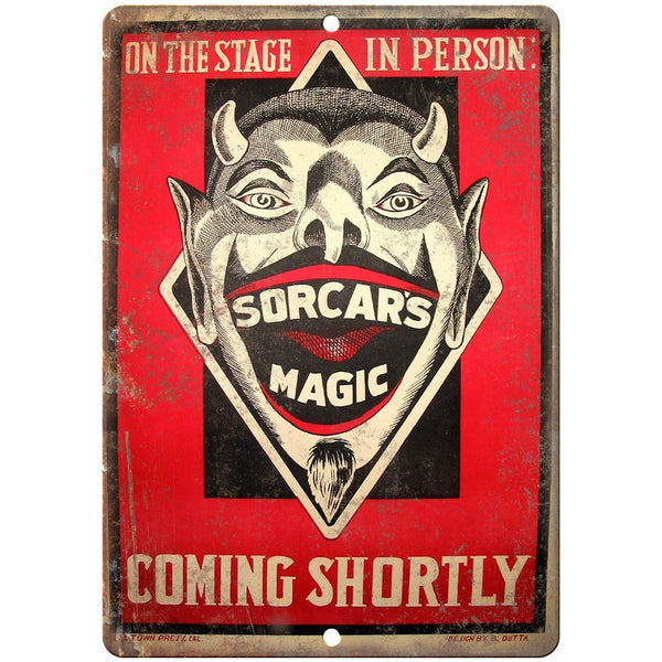 "Sorcar's Magic Circus Vintage Poster 10"" X 7"" Reproduction Metal Sign ZH34"