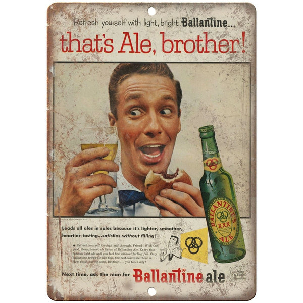 "Ballantine Ale Beer Vintage Breweriana 10"" x 7"" Reproduction Metal Sign E290"