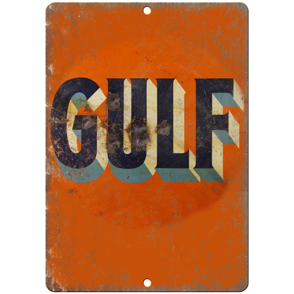"Porcelain Look Gulf Oil 10"" x 7"" Retro Look Metal Sign"