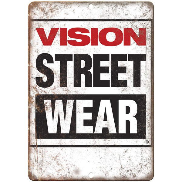 "Vision Street Wear Skateboard Logo 10"" x 7"" Retro Look Metal Sign"