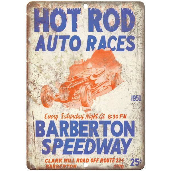 "1950 Barberton Speedway, stock car, hot rod, midget 10"" x 7"" Retro Metal Sign"