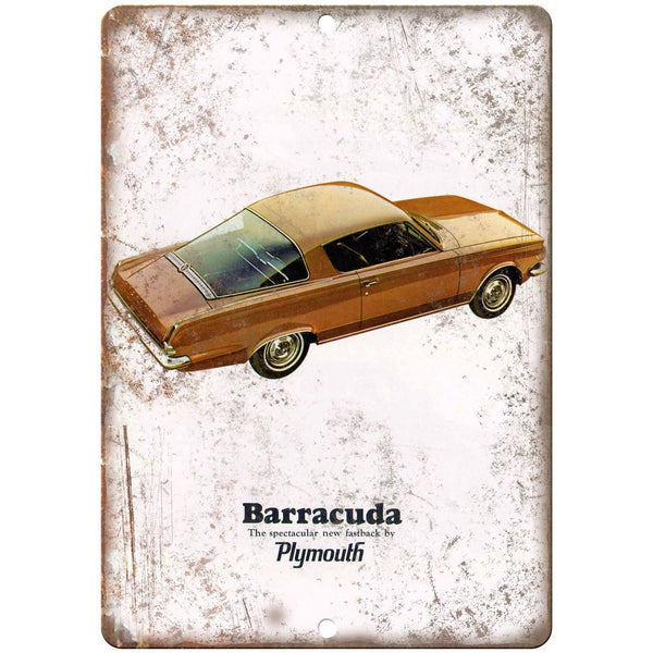 "1965 Plymouth Barracuda Car Manual Ad 10"" x 7"" Reproduction Metal Sign"
