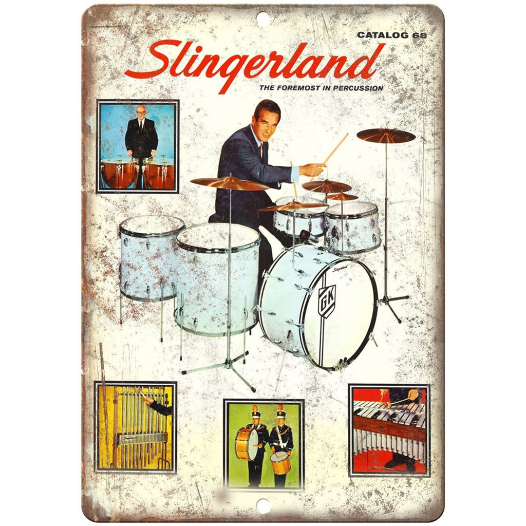 "Slingerland Percussion 1968 Catalog Cover 10"" X 7"" Reproduction Metal Sign R05"