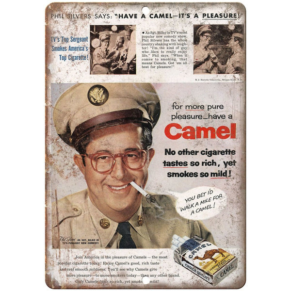 "1956 - Camels Phil Silvers vintage ad 10"" x 7"" reproduction metal sign"