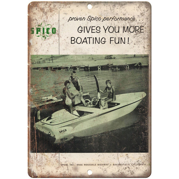 "Spico Boat Vintage Ad 10"" x 7"" Reproduction Metal Sign L82"