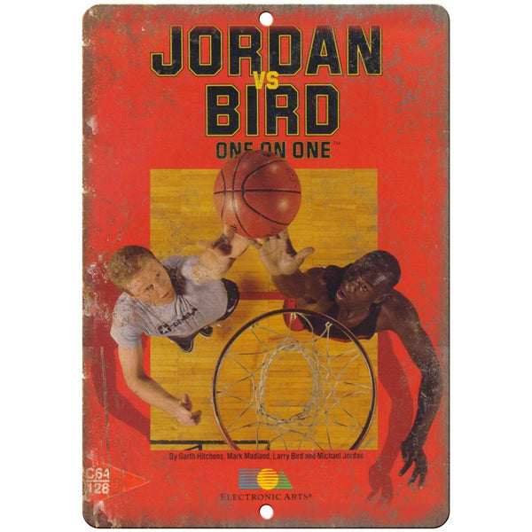 "Jordan vs Bird One on One Electronic Arts C64 10""x7"" Reproduction Metal Sign G16"
