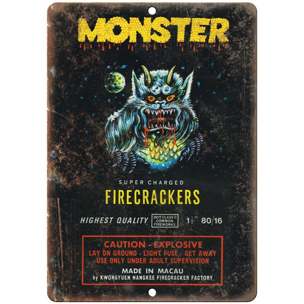 "Monster Super charged Firecrackers Art 10"" X 7"" Reproduction Metal Sign ZD35"