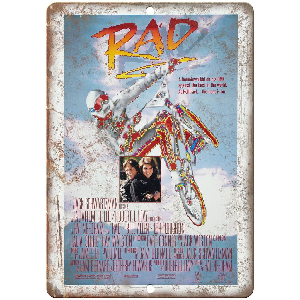 "RAD BMX Movie VHS Cover 10"" x 7"" Reproduction Metal Sign"