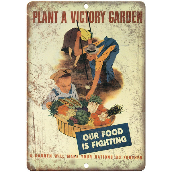 "Plant a Victory Garden Vintage Millitary 10"" x 7"" Reproduction Metal Sign M114"