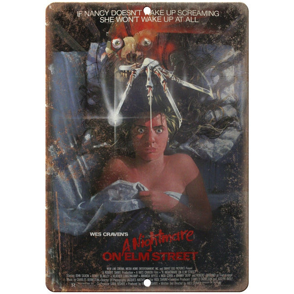 "A Nightmare on Elm Street Wes Craven Movie Poster 10"" x 7"" Retro Look Metal Sign"