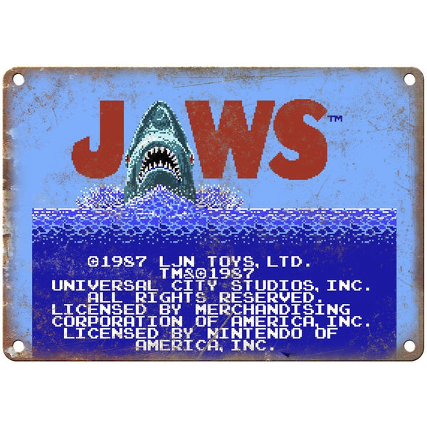 "Nintendo Jaws Start Screen NES 10"" x 7"" Reproduction Metal Sign G123"