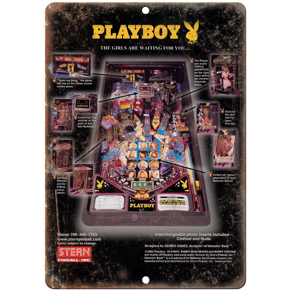"Playboy Pinball Machine Ad 10"" x 7"" Reproduction Metal Sign G237"
