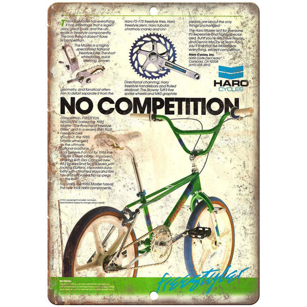"1985 Haro Master Freestyle BMX Bicycle Ad 10"" x 7"" Reproduction Metal Sign B489"