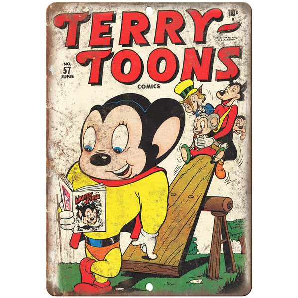 "Terry Toons Vintage Comic Book Cover Art 10"" X 7"" Reproduction Metal Sign J283"
